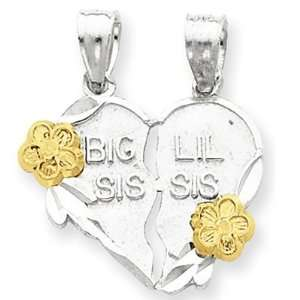 Silver Big Sis Lil Sis 2 piece Break Apart Heart Charm Jewelry