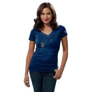 Utah Jazz Womens Big Better Logo Tri Blend V Neck T Shirt