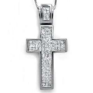 Princess Cut Diamond Cross Pendant Necklace 14k White Gold Jewelry