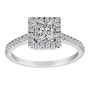 14K White Gold Princess Cut Center Diamond Ring (1 cttw
