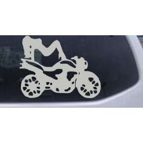 5.8in X 7.5in Silver    Sexy Chic Girl Woman on Motorcycle