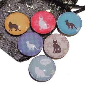 The Black Cat Jewellery Store Sillouette Cats Glass Tile Fridge