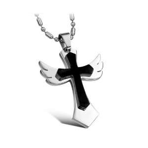 316L Stainless Steel Healing Angel Cross Pendant