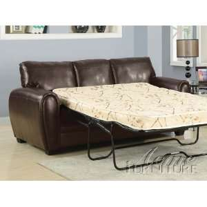 Brown Bonded Leather Sofa w/Full Sleeper # A15243