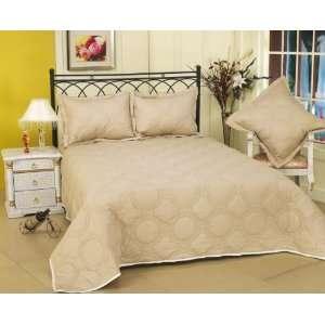 Livingston Circles 200T Cotton Full/Queen Quilt Set Parchment / Pearl