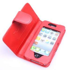 BestDealUSA Dark Red Side Open Faux Leather Case Cover For