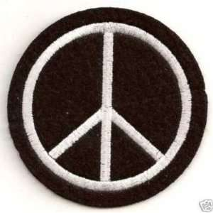 PEACE SIGN BLACK Embroidered Leather Biker Vest Patch