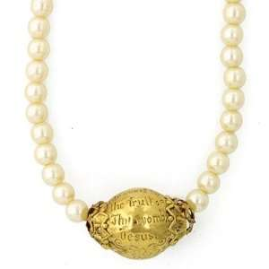 Hail Mary Prayer Bead Gold Tone Simulated Pearl Strand Necklace