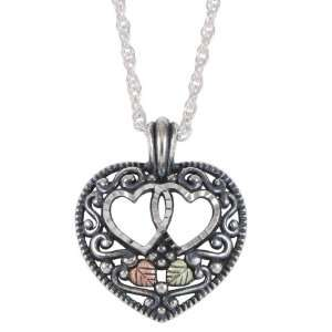 Black Hills Gold with Sterling Double Heart Pendant Jewelry