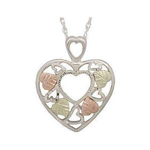 Black Hills Heart Shaped Sterling Silver Pendant Jewelry