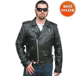 Jackets   Mens Classic Leather Motorcycle Jacket MJ400: Automotive