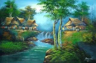 Acrylic Landscape Paintings :: Verdant Village