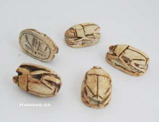 15 Egyptian Ceramic Carved Stone Scarab Beetles #795