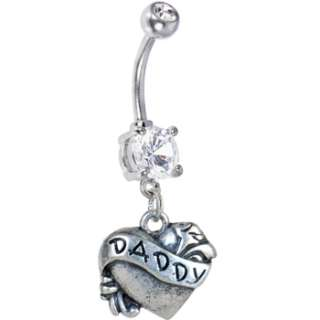 Crystalline Double Gem DADDY HEART Belly Ring  Body Candy Body