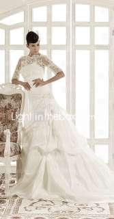 line Jewel Chapel Train Taffeta Wedding Dress   US$ 237.49