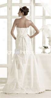 line Strapless Sweep/ Brush Train Taffeta Wedding Dress   US$ 349.99
