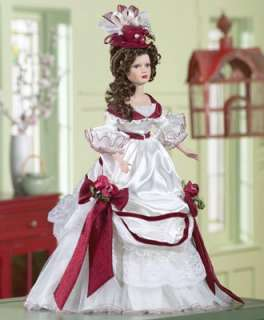 Burgundy Rose Collectible Porcelain Doll from Collections Etc.