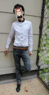 Mens Palace Style Black&White Polka Dot Slim Fit Shirts