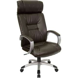 High Back Executive Office Chair with Arms, Brown Leather Furniture