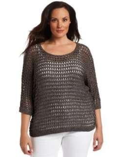 Klein Womens Plus Size 3/4 Sleeve Dolman Boat Neck Sweater Clothing