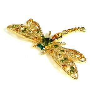 Color Austrian Rhinestone Gold Plated Dragonfly Brooch Pin Jewelry