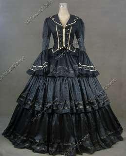 Civil War Victorian Brocade and Cotton Ball Gown Dress Prom 188 L