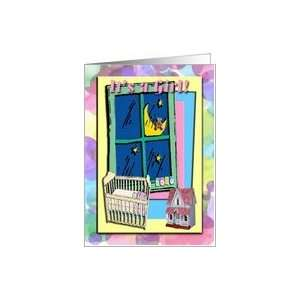 Girl, Baby in Crib with a View of the Moon with a Teddy Bear. Card