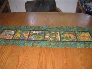 Handmade Table Runner safari wildlife deer zebra jungle