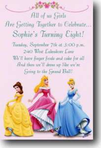 Disney Princess Personalized Birthday Party Invitations
