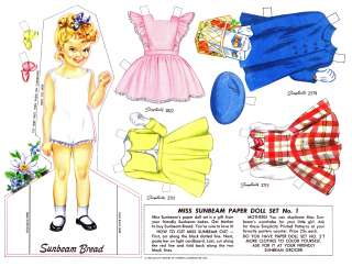 Vintage Miss Sunbeam Paper Doll Set 1950s (REPRO)