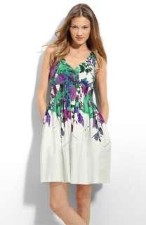 Eliza J Pleated Stretch Cotton Dress