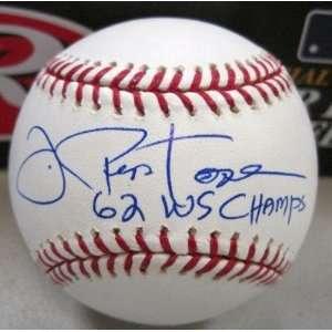 Joe Pepitone Autographed Baseball   62 Ws Champs Official Ml W coa