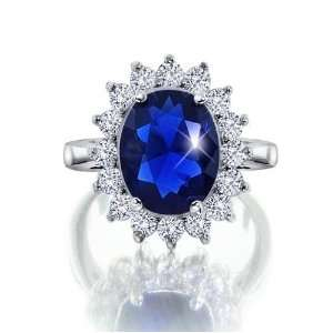 Kate Middleton Royal Engagement Ring Oval CZ Sapphire on .925 Sterling