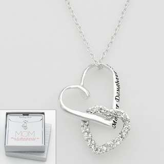 Sterling Silver Cubic Zirconia Mother Daughter Friend Heart Pendant