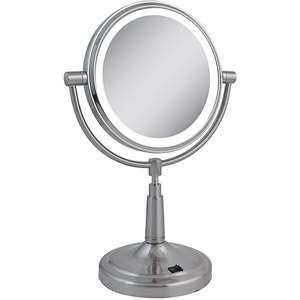 Lighted Vanity Mirror, Dual Sided Vanity Mirror, Satin Nickel Mirror