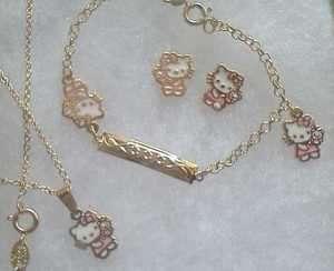 18Kt Gold gf GIRLS PINK HELLO KITTY Earrings, Necklace, Bracelet 4pc