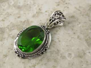 LIME GREEN PERIDOT quartz *** Silver Pendant  1.5 in