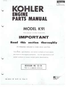ENGINE PARTS MANUAL K90 & K91 4HP HORIZONTAL SHAFT WHEEL HORSE TRACTOR