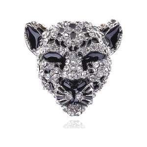 Fierce Head Face Ice Crystal Rhinestone Adjustable Costume Ring