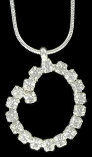 Initial Letter O Crystal Rhinestone Pendant Necklace
