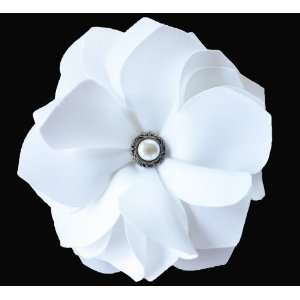 NEW Wedding White Satin Flower Hair Clip/brooch with Vintage Pearl