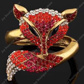 Red Fox Animal Swarovski Crystal fashion jewelry gold Bracelet Bangle