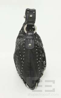 Fiore Black Embossed Ruched Leather & Silver Studded Hobo Bag