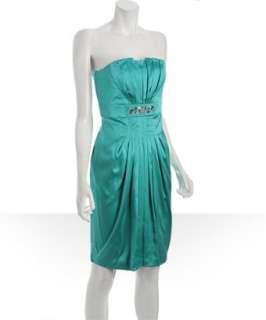 Marc Bouwer GlamIt aqua stretch silk pleated strapless dress