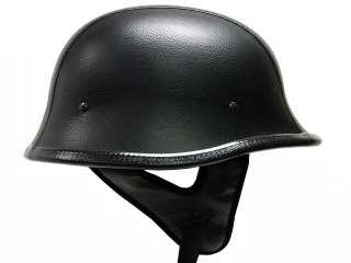 DOT German Black LEATHER Motorcycle Half Helmet Bike~XL