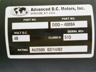NEW ADVANCED DC MOTORS CLUB CAR SERIES GOLF CART MOTOR D00 4008A