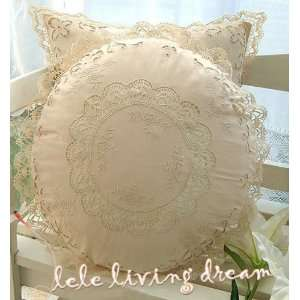 Vintage Hand Embroidered/bobbin lace cushion cover B
