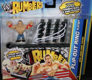 JOHN CENA W/ FLIP OUT RING PLAYSET   WWE RUMBLERS TOY WRESTLING ACTION