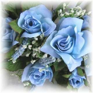 ROSE SWAG LIGHT BLUE Wedding Table Centerpiece Silk Flowers Arch