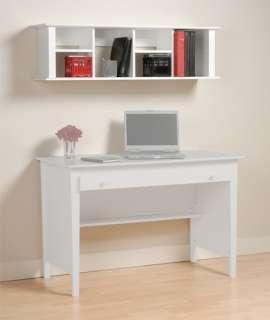 White Wall Mount Computer Desk Hutch, Bookcase Shelf
